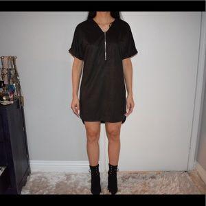 Suede T-shirt dress